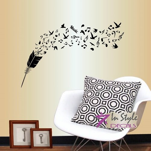 Warge Size Removable Vinyl Musical Notes Wall Stickers Home Wall Art Decor W8h Décor Decals Stickers Vinyl Art Home Garden
