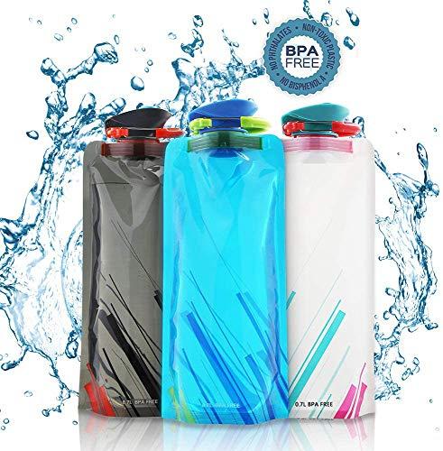 Molbory 700ML Botella de Agua Plegable Conjunto de 3,Botella de Agua Plegable Silicona,Plegable Flexible Botella de Agua Reutilizable para Senderismo,Ciclismo,Camping,Aventura,Viajes,Escuela