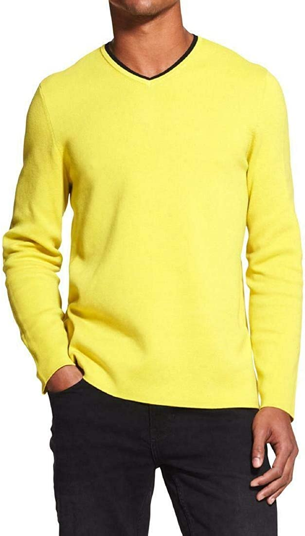 DKNY Mens V-Neck Pullover Sweater, Yellow, Large