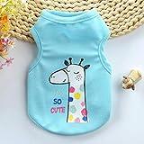 KLU T-shirt d'été pour chiot chiot chiot chien chien gilet doux nouveau-né chien chiot vêtements pour petits chiens chihuahua, girafe, XXS