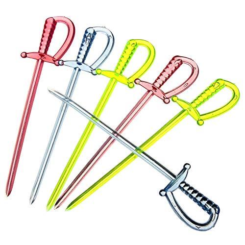 EudoER - Palillos de espada de plástico de 8.35 cm, palillos de dientes para alimentos, tenedor de frutas, palillos de cóctel, multicolor, 100 unidades