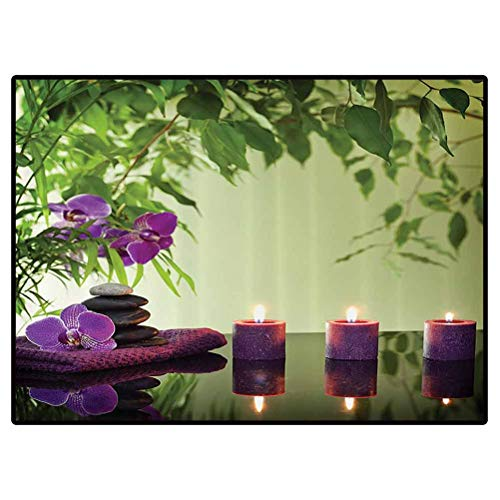 Spa Decor Outdoor Carpets Patio Zen Stones Aromatic Candles and Orchids Blooms Treatment Vacation Cute Floor Carpets Kids Playing Mat for Bedroom 5x7 Feet