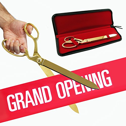 """Free Grand Opening Ribbon with 15"""" Gold Plated Ceremonial Ribbon Cutting Scissors and Case"""