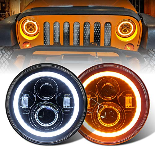 DOT Approved 7'' LED Headlight with White Halo/Amber Turn Signal Compatible with Jeep Wrangler JK LJ TJ CJ HUMMER H1 H2