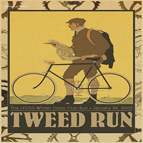 zxddzl Vintage Fahrrad Poster Retro Wand Aufkleber Kunstdruck Foto Foto Bar Cafe Bar Dekoration Familie