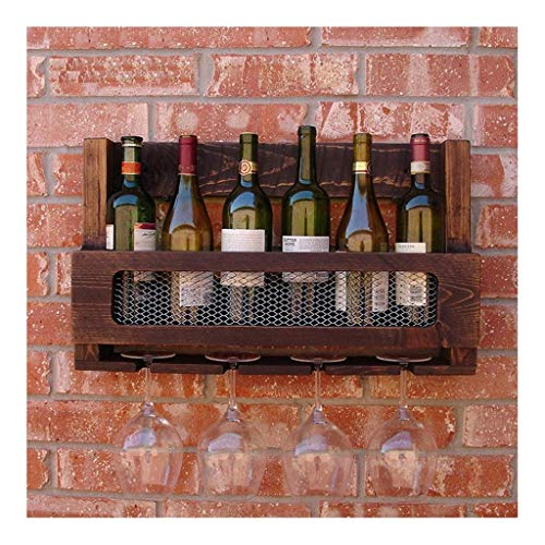JXTXY Wall-Mounted Racks On Vintage Wall,Wooden Wine Shelf with Goblet Holder,Mounted Hanging Bottle Holder for 5 Bottles & 4 Glasses 60x35x12cm