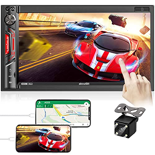 7 inch Double Din Car Stereo: aboutBit HD Touchscreen Bluetooth Car Audio Receiver MP5 Multimedia Player – Mirror Link, 4 LED Backup Camera, AM/FM Radio, USB/SD/AUX, SWC, Wireless Remote Control