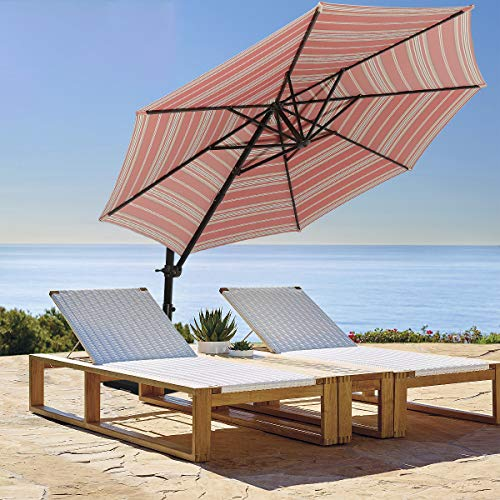 Ginelite 10Ft Luxury Cantilever Umbrella Patio Umbrella Olefin Fading Resistant Canopy Sun Umbrella 360°Rotation Heavy Duty...
