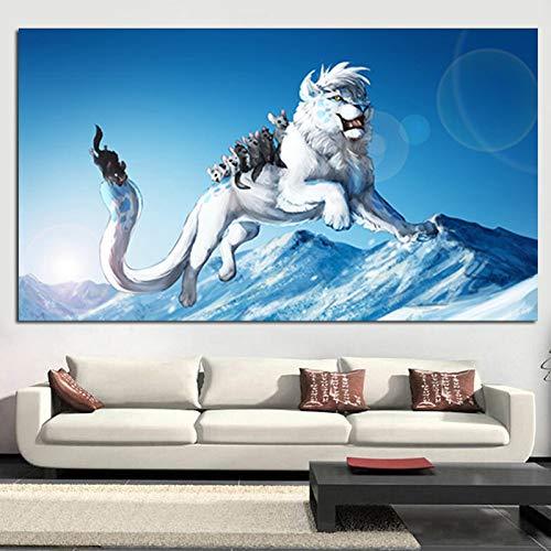 tzxdbh Print Artistieke Dieren Witte Leeuw Muis Olie Schilderen op Canvas Grote grootte Jump Games Moderne Muur Schilderen Voor Woonkamer Cuadros-in van 35x70 cm Unframed