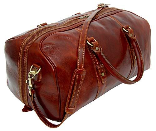 Rivello Genuine Leather Holdall Bag - Detachable Shoulder Strap - Brown - Carry On