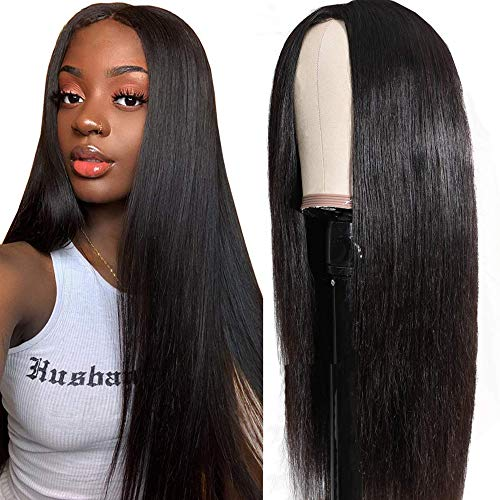 UNice Hair 10A Fake Scalp Wigs Human Hair Straight Wig for Black Women Brazilian Virgin Hair Pu Silk Top 2x5 inch Lace Wigs Middle Part Wear and Go Wig 150% Density 18 inch