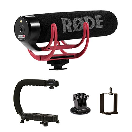 RØDE VideoMic GO + CAM CADDIE Scorpion JR - Compact On Camera Microphone with Ryocote Lyre Shock Mount + Hand Held Support Grip