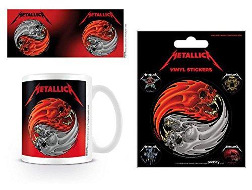 1art1 Metallica, Yin & Yang Foto-Tasse Kaffeetasse (9x8 cm) Inklusive 1 Metallica Poster-Sticker Tattoo Aufkleber (12x10 cm)