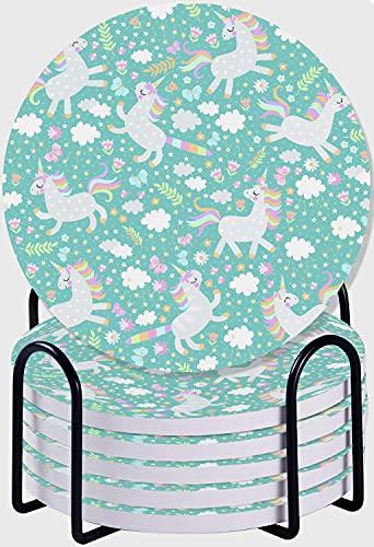 GUVICINIR Juego de 6 Posavasos de cerámica Absorbente con Base de Corcho,Lindo patrón Infantil sin Costuras con Unicornios Felices, Mariposas, Flores y Hojas de Nubes con Estrellas