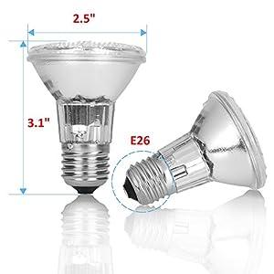 Par 20 3 Pack FL25 50PAR20/FL 50 Watt Halogen Spot Light Bulb Replacement 120V 130V Base Flood Beam Lighting Range Hood Oven PAR20 Reflector Excel Bulbs DL Kitchen Bathroom Ceiling Can Lamp 50W E26 3P