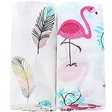 Lebze Muselina Manta Bebé | Mantas de Muselina de Bambú Algodón | 120x120 cm Pack de 2'Pluma y Flamenco'