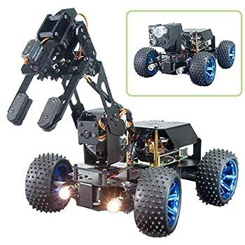 Adeept PiCar-Pro Raspberry Pi Smart Robot Car Kit Programming 2-in-1 4WD Car Robot with 4-DOF Robotic Arm,Electronic DIY Robotics Kit for Teens and Adults Compatible Pi 4B Model 3B 3B+