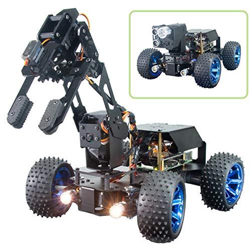 Adeept PiCar-Pro Raspberry Pi Smart Robot Auto Kit programación de un robot de coche 2 en 1 4WD con brazo robótico 4-DOF, kit de bricolaje electrónico para jóvenes y adultos para Pi 4 4B 3B 3B+