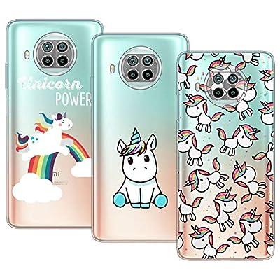Young & Min Funda para Xiaomi Mi 10T Lite 5G, (3 Pack) Transparente TPU Carcasa Delgado Anti-Choques con Dibujo de Unicornio