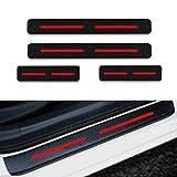 para Rifter 5008 Traveller Decoración Pegatina para Estribos,Protección de Pedal de umbral,Faldones Laterales Fibra de Carbono,Evitar el Desgaste 4Pieza Rojo