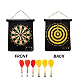 2-in-1 Magnetic Baseball Dart Board Game Set with 6 Safety Darts for Kids & Adults (Bullseye & Dart Games)