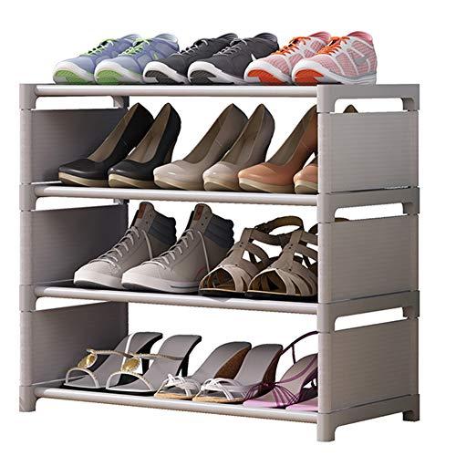 FEIFEI Zapatero De 4 Capas, Zapatero Apilable Y Extraíble Para Almacenamiento Simple En El Dormitorio, Puede Contener 12 Pares De Zapatos, Zapatero De Metal, Gris