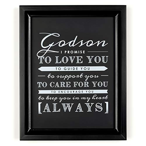 Godson Gift from Godparents, Godson Quote Sign, Perfect Christening Gift, Baptism Gift for Godson from Godmother or Godfather, 8x10' Print by Ocean Drop Designs … (Black Frame)