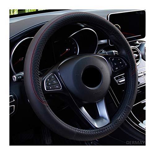 LTQHDBH - Funda para volante de coche, de piel de 37 a 38 cmP-U, antideslizante, para cuatro estaciones, suministros de coche, fundas para volante para mujer (nombre del color: negro)
