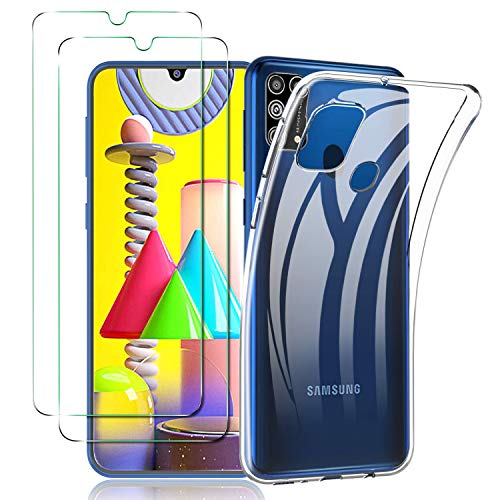 ILUXUS Klar Silikon Hülle für Samsung Galaxy M31 handyHülle mit Panzerglas, Galaxy M31 handyHülle transparent Ultra Silikon Bumper Cover TPU Ultra Slim Schutzhülle für Galaxy M31 Schutzfolie
