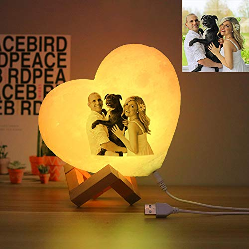 3 Color Heart Moon Night Light with Wooden Base Personalized Photos & Text Lamp Home Bedroom Decor Mother's Day Birthday Anniversary Ideas for Women Kids(15cm/5.9')