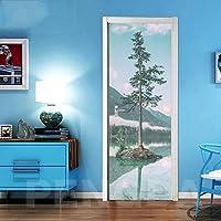 ZWYCEX ドアステッカー 3Dドアステッカー自己接着ツリー風景の写真デカールホームデコレーション紙のリビングルームPVC防水アートポスターを印刷 (Sticker Size : 77x200cm)