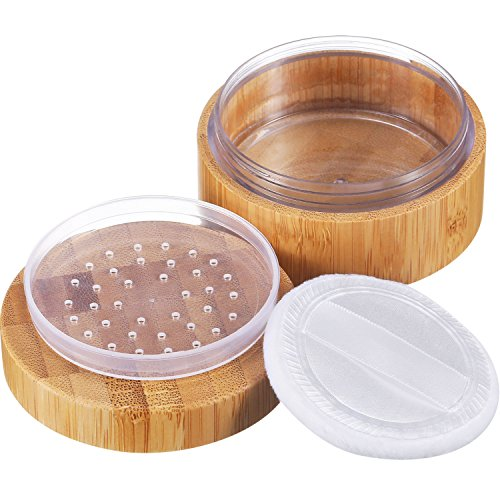 Frienda 30 ml Empty Loose Powder Container Bamboo Cosmetic Make-up Loose Powder Box Case Holder with Sifter Lids and Powder Puff