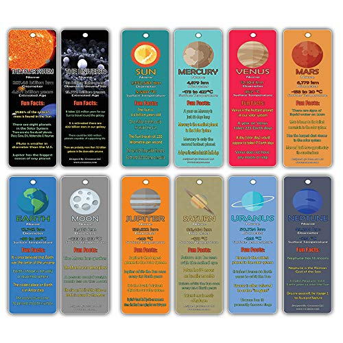 Creanoso Planets and Universe Fun Facts Bookmark Cards(12-Pack) - Solar System and Galaxy Learning Pack - Excellent Party Favors Teacher Classroom Reading Rewards and Incentive Gifts for Young Readers