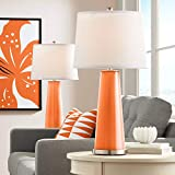 Leo Modern Contemporary Table Lamps Set of 2 Invigorate Orange Glass Tapered Column White Drum Shade Decor for Living Room Bedroom House Bedside Nightstand Home Office Family - Color + Plus