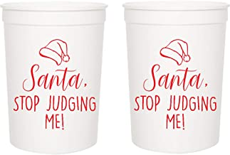 """Christmas Party Cups -""""Santa Stop Judging Me!"""" - Set of 12 White and Red 16oz Stadium Cups, Perfect for Christmas Party, F..."""
