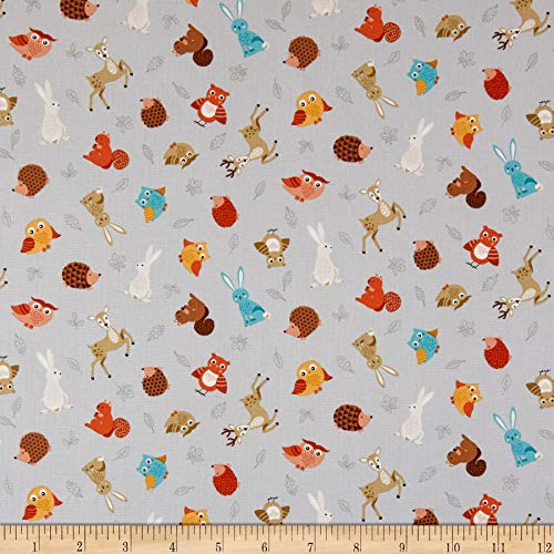 Andover/Makower UK Forest Animal Scatter Grey Quilt Fabric By The Yard
