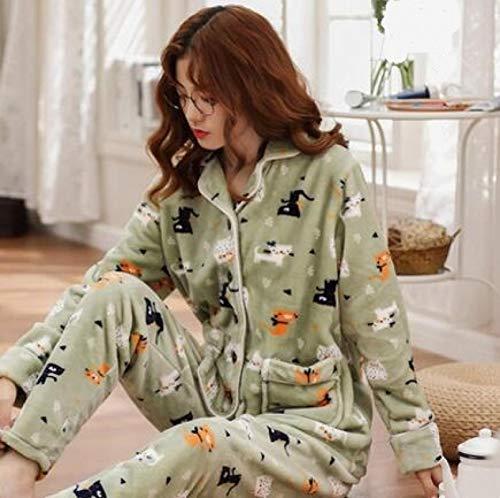 XFLOWR Pijamas de Manga Larga Pijamas de Invierno Pareja Pijamas de Franela Gruesos y cálidos Conjunto de Manga Larga Cuello Vuelto Casual Tallas Grandes M-3xl Ropa de Dormir Amantes Pijama L Mujeres