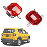 GTINTHEBOX Red Lens LED Rear Bumper Reflectors Fog Tail Lamps with White Backup Reverse Lights Update Kit for Jeep Renegade 2015 2016 2017 2018 2019