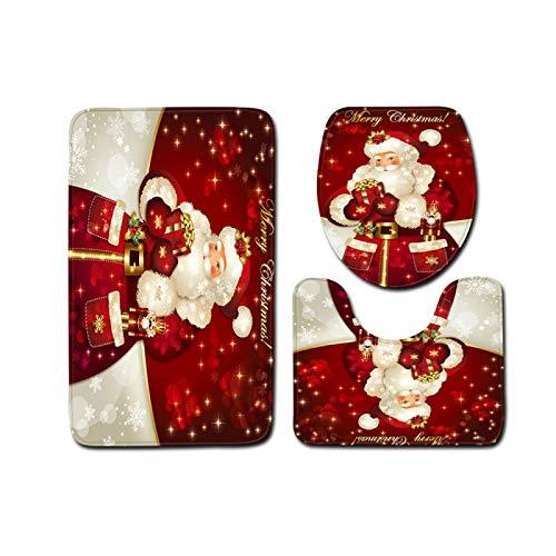 DIAOSUJIA Weihnachtstoilettenset,3Pcs Weihnachten Geschenk Toilette Sitzbezug Santa Claus Badezimmer Boden Matte Xmas Dekor Badezimmer Santa Toilette Sitz Abdeckung Teppich Home Decoration