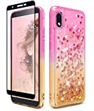 Dzxouui for Samsung Galaxy A01 Core Case and Glass Screen Protector Girls Women TPU Clear Cover Moving Quicksand Glitter Bling Sparkle Cute Phone Cases for Samsung Galaxy A01 Core(Pink/Gold)