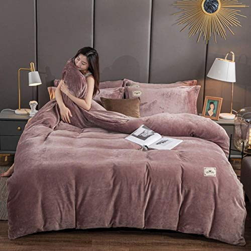 Bedding sets king,The new 9-pound thickened four-piece cloud mink velvet flannel coral velvet flannel double-sided velvet gold mink quilt cover-Red bean paste_Four-piece set of 1.5m bed sheet
