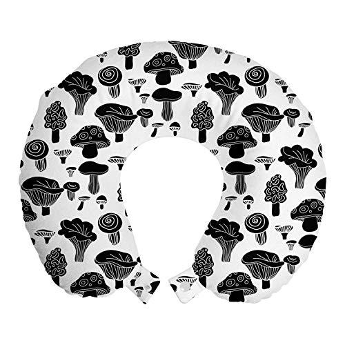 ABAKUHAUS Paddestoel Reiskussen, Monochrome Woodland Eten, Reisaccessoire met Geheugenschuim voor Vliegtuig en Auto, 30 cm x 30 cm, Grijs en Witte Houtskool