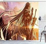 Duschvorhänge,Anime Mädchen Ritter wasserdichte Polyester Duschvorhang Mehltau Gardinen Wohnkultur Mit 12 Haken Größe 180 * 180Cm