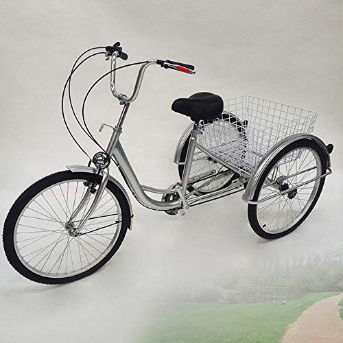 "OU BEST CHOOSE 24"" 3 Ruedas Triciclo Adulto con Bicicleta de 6 velocidades, Cesta de la Compra Trike Triciclo Pedal Bicicleta de Ciclismo, para IR de Compras al Aire Libre Picnic Deportes (Silver)"