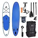XQ Max - Tabla de surf de remo profesional, SUP (305 cm, juego completo, incluye bomba, herramientas de reparación, línea de pie, remo ajustable, funda impermeable de 2 L), Waikiki azul., 305 cm