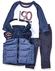 U.S. Polo Assn. Baby Boy's Sherpa Lined Puffer Vest, Long Sleeve T-Shirt, and Pant Set Pants