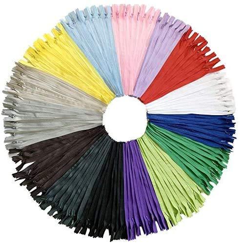 DOITEM 60pcs 60cm Invisible Multicolore Nylon Bobine Fermetures À Glissière pour Coudre et Artisanat 15 Couleurs