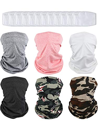 6 Pieces Multi-purpose Face Cover Bandanas with 18 Pieces Breathable Safety Carbon Pieces (Light Grey, Black, White, Coral Color and Camouflage Color Set)