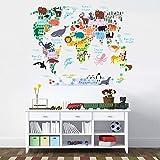 Pegatinas de pared con mapamundi de animales para sala de estar, dormitorio, oficina, decoración del hogar, calcomanías murales de PVC, decoración de pared