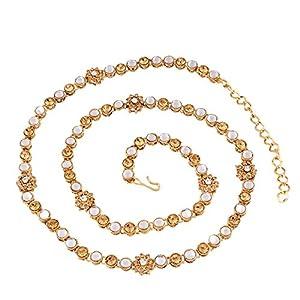 I Jewels 18k Gold Plated Ethnic Kundan Stone Studded Kamarband/Waist Belly Chain for Women (B017)